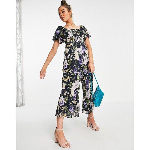 Combinaison ample à manches bouffantes avec motif floral - Bleu - Hope & Ivy - Modalova