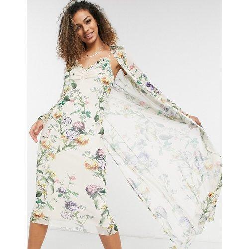 Ensemble robe nuisette style années 90 et pardessus - sauge clair fleuri - Hope & Ivy - Modalova
