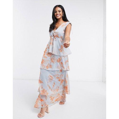 Robe longue boutonnée sur le devant avec effet étagé et liens à la taille - Bleu/orangefloral - Hope & Ivy - Modalova