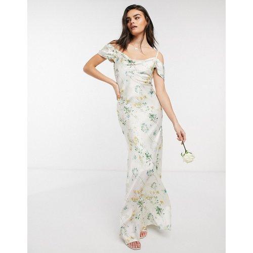Robe longue encolure bénitier à épaules nues pour demoiselle d'honneur avec fleurs - Ivoire - Hope & Ivy - Modalova