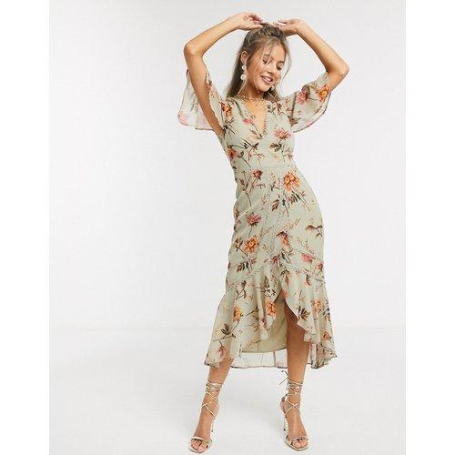 Robe mi-longue à fleurs avec décolleté plongeant - Hope & Ivy - Modalova