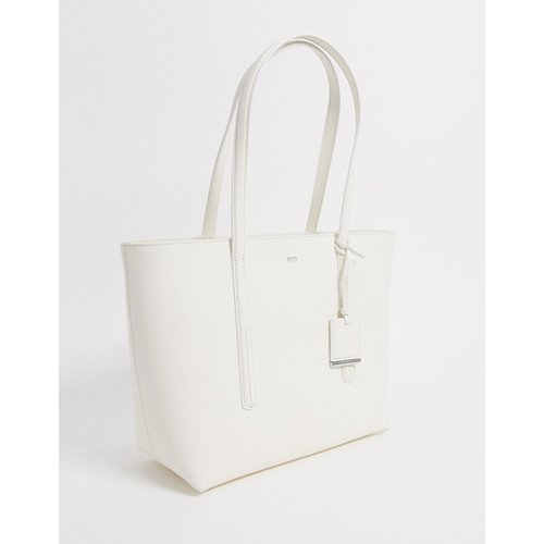 Hugo - Tote bag zippé en cuir avec étiquette - Boss - Modalova