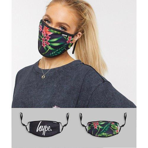 Lot de2 masques en tissu à bandes ajustables et imprimé fleuri, en exclusivité - Noir - Hype - Modalova