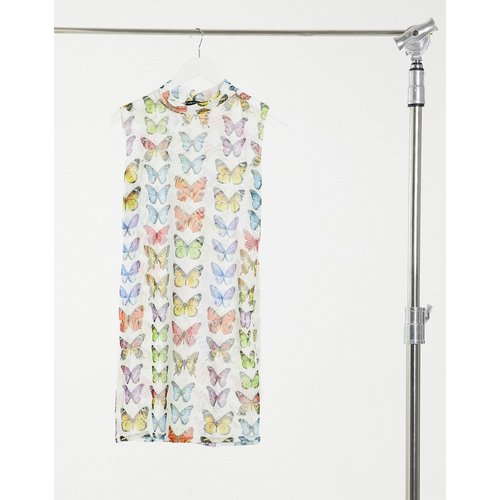 Robe courte à col montant motif papillons - I Saw It First - Modalova