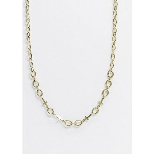 Collier chaîne chunky avec maillons à breloques croix et de forme ovale - Icon Brand - Modalova