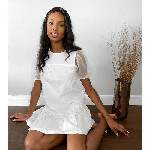 Robe en popeline de coton avec manches en organza - Influence Tall - Modalova