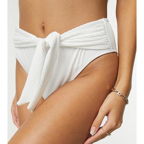 Bas de bikini côtelé taille haute avec nœud pour poitrines généreuses - Ivory Rose - Modalova