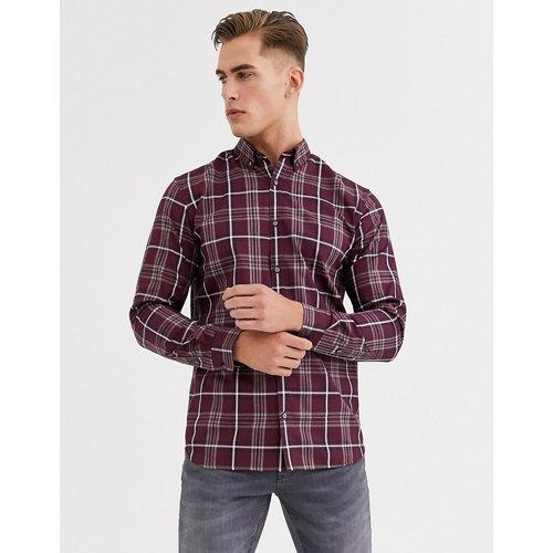 Chemise ajustée à carreaux - Bordeaux - jack & jones - Modalova