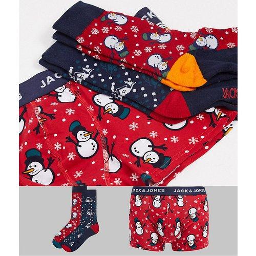 Coffret cadeau de Noël avec chaussettes et boxer à imprimés Noël - jack & jones - Modalova