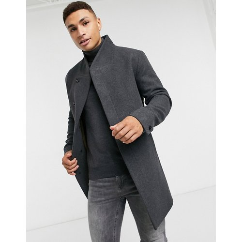 Essentials - Manteau en laine à col cheminée - foncé - jack & jones - Modalova