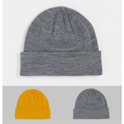Lot de 2 bonnets - Jaune et gris - jack & jones - Modalova