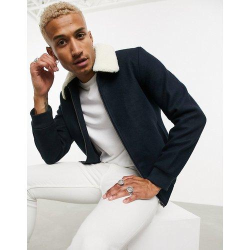 Originals - Blouson Harrington habillé avec col imitation peau de mouton - Bleu marine - jack & jones - Modalova