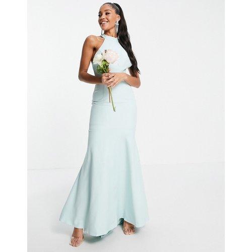 Robe longue à col montant avec dos en dentelle - Bleu - Jarlo - Modalova