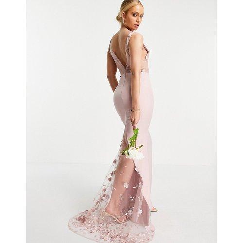 Robe longue à dentelle florale 3D - Blush - Jarlo - Modalova