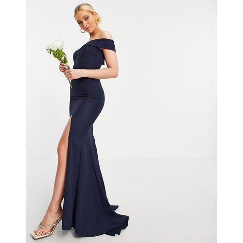 Robe longue fendue sur la cuisse à encolure Bardot - Bleu - Jarlo - Modalova