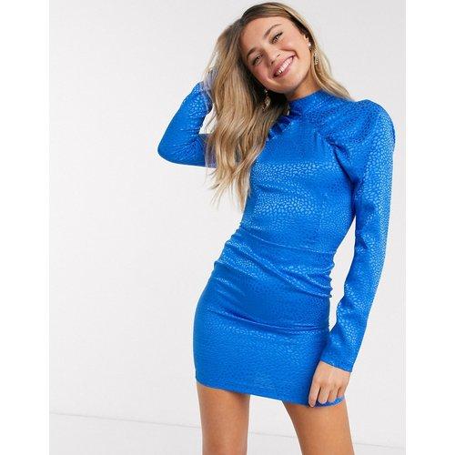 Robe courte style fourreau à manches bouffantes - Léopard bleu - John Zack - Modalova