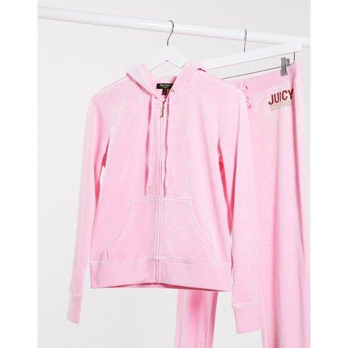 Black Label Juicy Robertson - Veste en velours effet bling-bling - Blanc - Juicy Couture - Modalova