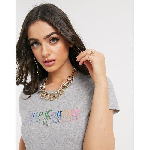 Black Label Juicy - T-shirt à motif arc-en-ciel style gothique - Gris chiné - Juicy Couture - Modalova