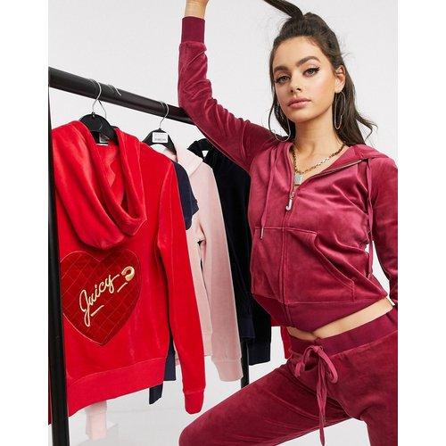 Black Label - Robertson - Hoodie en velours luxueux avec pendentif - Grenade - Juicy Couture - Modalova