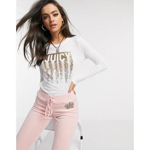 Black Label - T-shirt manches longues avec inscription Juicy en sequins effet coulures - Juicy Couture - Modalova
