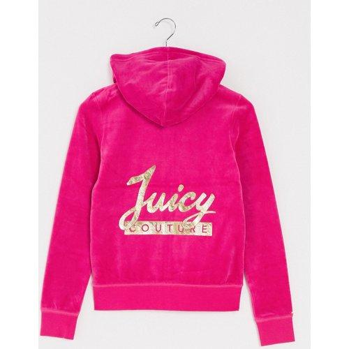 OutletWomen - Veste de survêtement en velours à inscription Juicyet doublure argentée - Juicy Couture - Modalova
