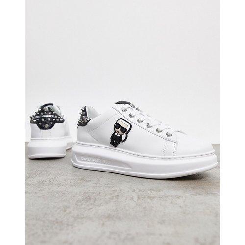 Baskets en cuir à semelle plateforme avec empiècement clouté à l'arrière - Karl Lagerfeld - Modalova
