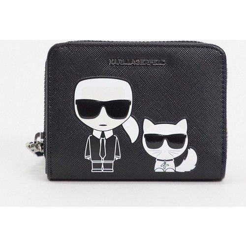 -k/ikonik- Petit portefeuille porte-monnaie à rabat et fermeture éclair - Karl Lagerfeld - Modalova