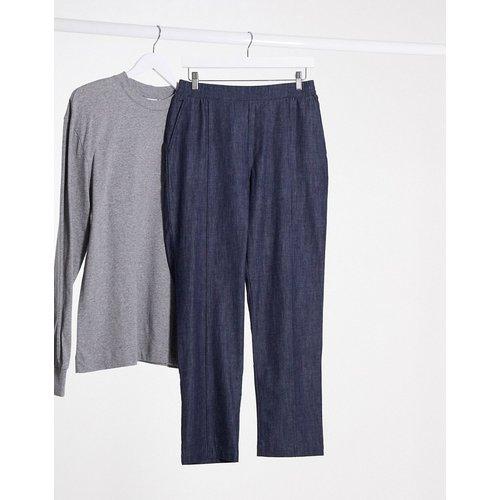 Pantalon chino en chambray style denim - Karl Lagerfeld - Modalova