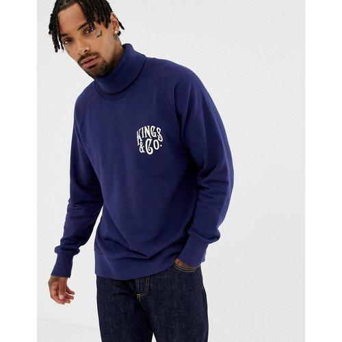Sweat-shirt col roulé en coton bio - Bleu - Kings Of Indigo - Modalova