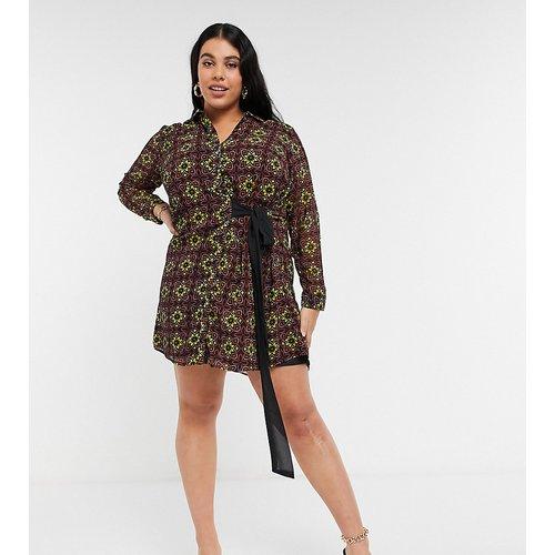 Robe chemise nouée sur le devant à imprimé mosaïque - Koko - Modalova