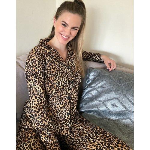 Ensemble de pyjama à col cranté imprimé léopard - LAUREN by RALPH LAUREN - Modalova