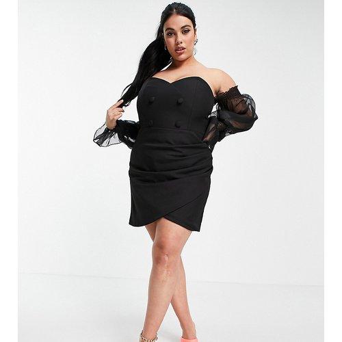 Robe cache-cœur courte de smoking à épaules dénudées et manches transparentes bouffantes - Lavish Alice Plus - Modalova