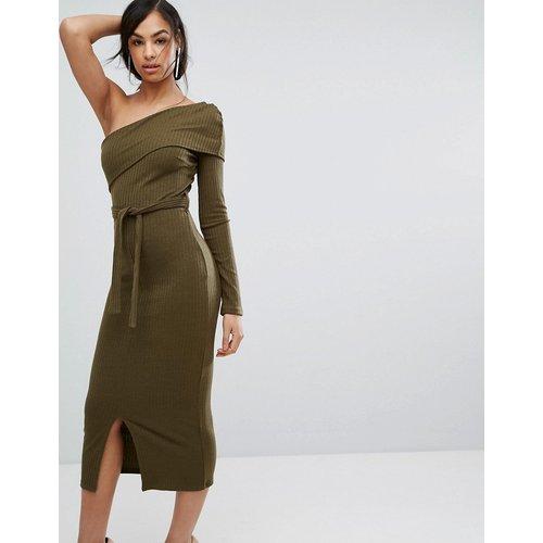 Robe mi-longue asymétrique double épaisseur en maille côtelée - Kaki - Lavish Alice - Modalova