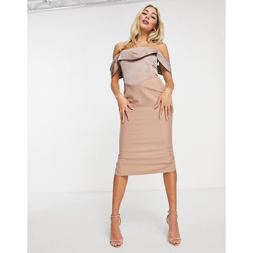 Robe mi-longue style Bardot - Vison - Lavish Alice - Modalova