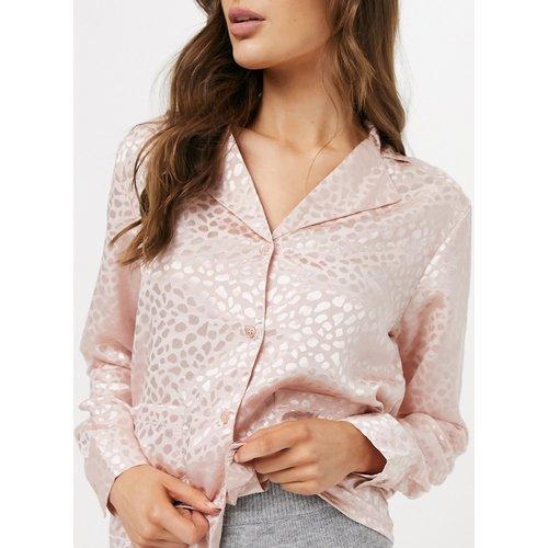 Haut de pyjama à motif jacquard - Pêche - Liquorish - Modalova