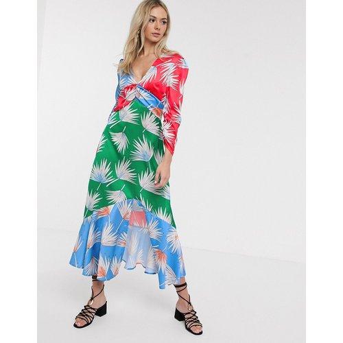 Robe mi-longue en satin à imprimé fleuri mélangé - Liquorish - Modalova