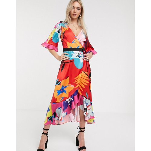 Robe mi-longue style kimono à imprimé floral mélangé - Liquorish - Modalova