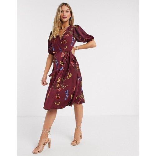 Robe portefeuille mi-longue fleurie - Bordeaux - Liquorish - Modalova