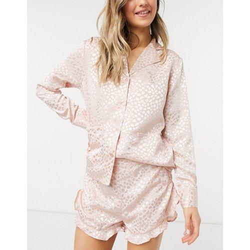 Short de pyjama à motif jacquard - Pêche - Liquorish - Modalova