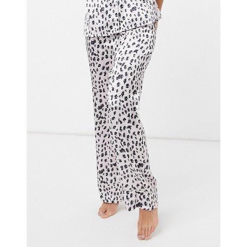 Vêtements de nuit - Pantalon de pyjama à motif léopard et bord sauge - Noir et blanc - Liquorish - Modalova