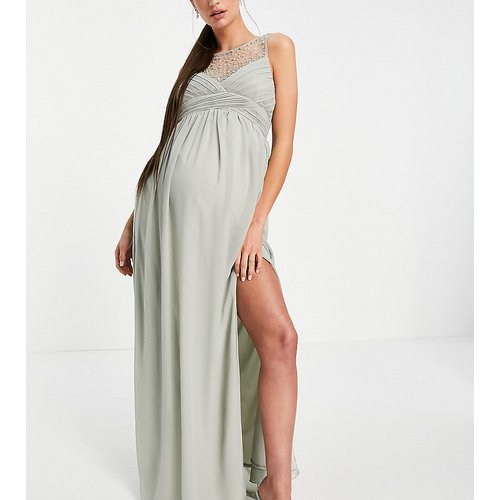 Robe longue à empiècement plissé ornementé - sauge - Little Mistress Maternity - Modalova