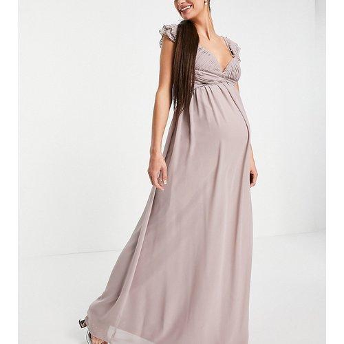 Robe longue à manches fluides ornementées et taille torsadée - Little Mistress Maternity - Modalova