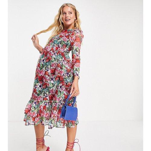 Robe patineuse mi-longue à fleurs avec manches longues et détail volanté - Rose - Little Mistress Maternity - Modalova