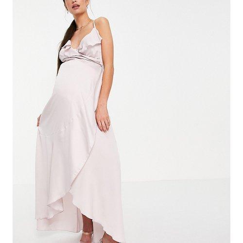 Robe portefeuille longueur mollet en satin - poudré - Little Mistress Maternity - Modalova
