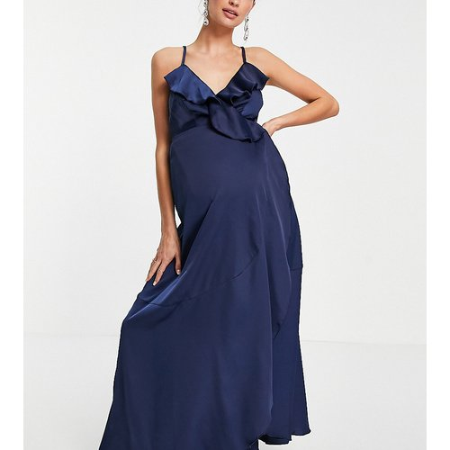 Robe portefeuille longueur mollet satinée - Bleu - Little Mistress Maternity - Modalova