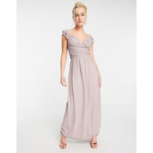 Robe longue à manches fluides ornementées et taille torsadée - Little Mistress - Modalova