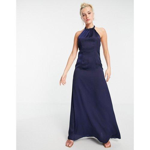 Robe longue dos-nu - Bleu - Little Mistress - Modalova