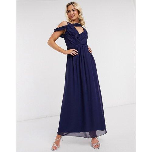 Robe longue drapée - Bleu - Little Mistress - Modalova