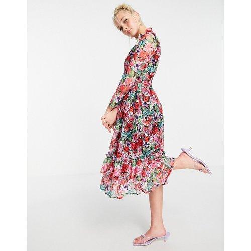 Robe patineuse mi-longue à fleurs avec manches longues et détail volanté - Rose - Little Mistress - Modalova