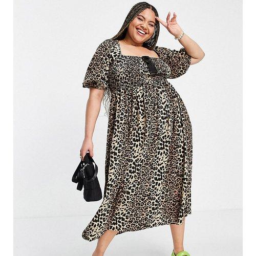 Lola May Plus - Robe à manches bouffantes et imprimé léopard - Lola May Curve - Modalova
